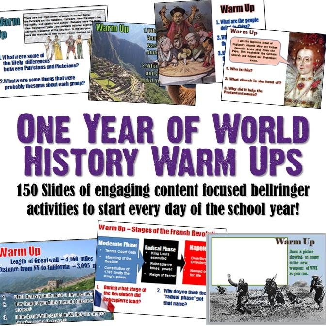 This amazing 150 slide PowerPoint covers ALL of World history from the Paleolithic Era through modern times! Each slide contains 3-4 short questions to engage students, reflect on past learning, and segue into your new lesson. All slides contain engaging graphics for visual learners and utilize a variety of questioning styles. The slides could also act as an excellent review activity after a unit or as exit tickets for EVERY CLASS throughout the year.