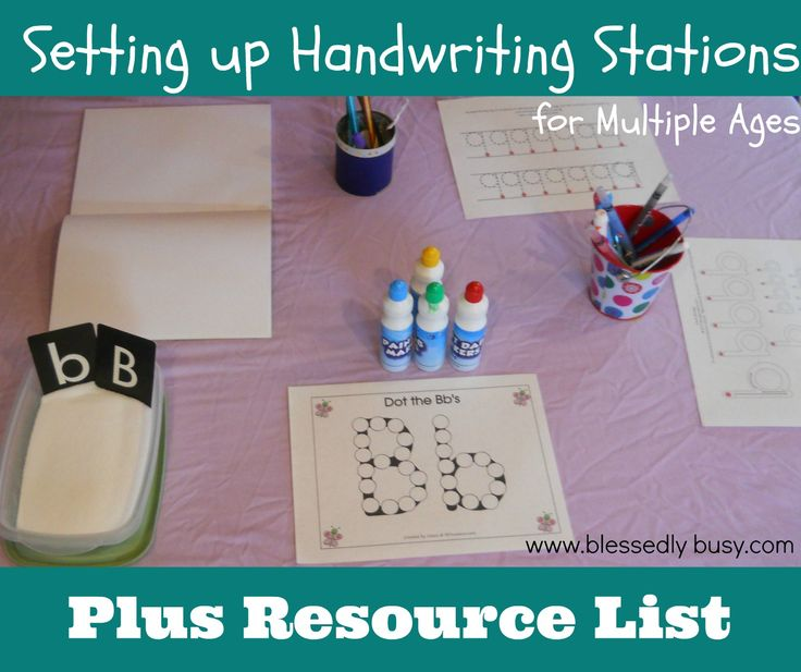Handwriting Stations for Multiple Ages Plus Resource List