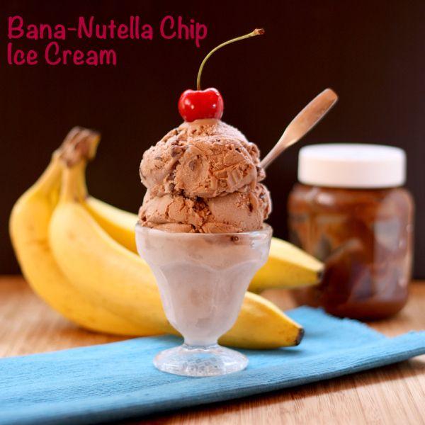 Bana-Nutella Chip Ice Cream (Cupcakes & Kale Chips): Bana Nutella Chips, Chocolate Chips, Chocolates Chips, Minis Chocolates, Bananas Chocolates, Ice Cream, 5 Ingredients Bana Nutella, Chips Ice, Cupcakesandkalechips Com