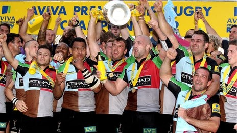 London Harlequins celebrate their first Aviva Premiership defeating Leicester Tigers 30-23
