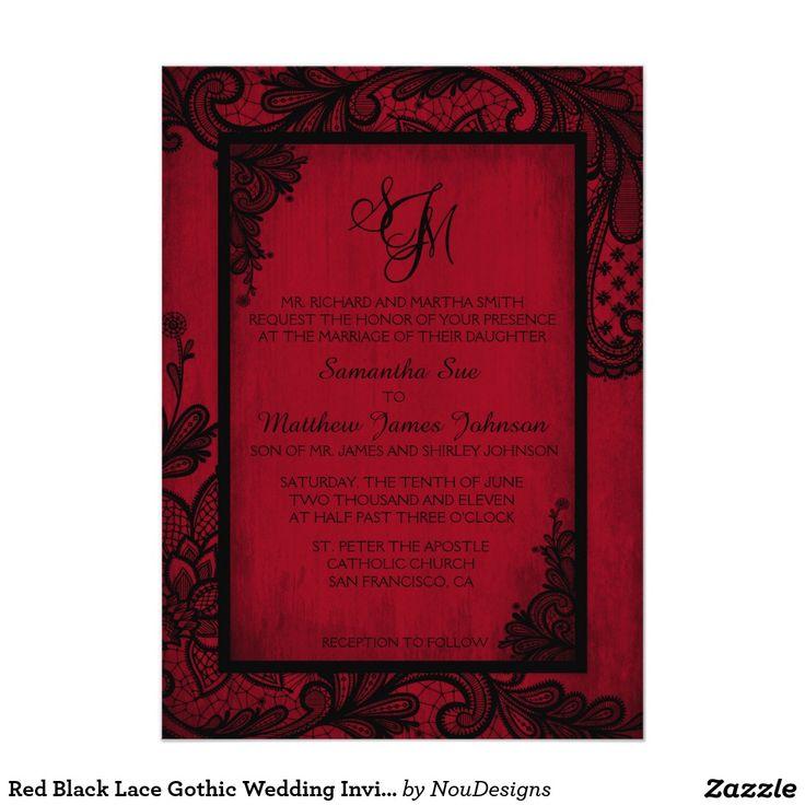 reception information on back of wedding invitation%0A Red Black Lace Gothic Wedding Invitation Card