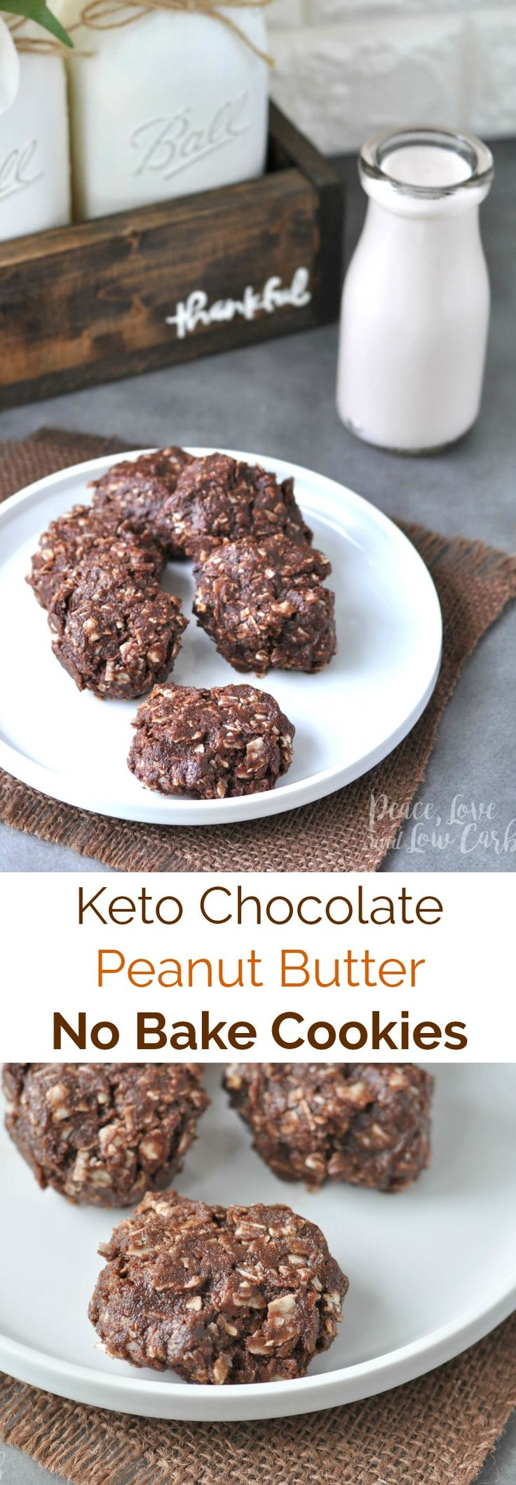 Chocolate Peanut Butter Keto No Bake Cookies | Peace Love and Low Carb via @PeaceLoveLoCarb