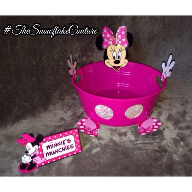 Pink Minnie Mouse Snack bowl and Matching Minnie Mouse Food tent Mickey Mouse clubhouse Birthday Party Decorating ideas food and dessert table menu ideas