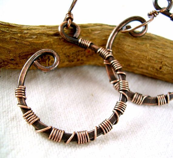 Copper Wire Wrapped Earrings Wire Wrapped by KiawahCollection