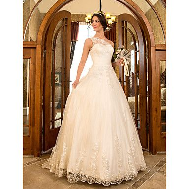 A-line Princess One Shoulder Sweep/Brush Train Tulle And Lace Wedding Dress (632801) – USD $ 176.99