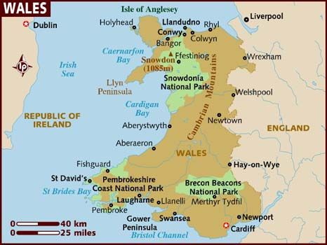 Wales is a country that is part of the United Kingdom and the island of Great Britain, bordered by England to its east and the Atlantic Ocean and Irish Sea to its west. Population: 3,006,400 (2010); Capital: Cardiff; Dialing code: 44; Currency: UK £; Government: Devolution, Constitutional monarchy; Official language: Welsh & English