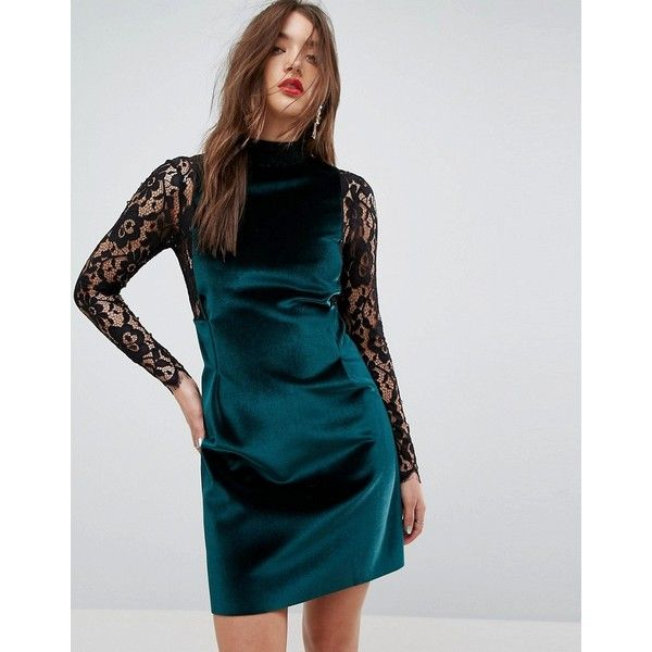 ASOS Velvet & Lace Long Sleeve Mini Shift Dress ($68) ❤ liked on Polyvore featuring dresses, green, open back prom dress, long-sleeve lace dresses, prom dresses, long-sleeve mini dress and long-sleeve shift dresses
