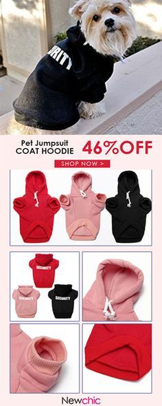 3 Colors Pet Dog Security Clothes Jumpsuit Puppy Costume Coat Hoodie#newchic#pet#clothing