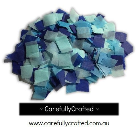 CarefullyCrafted - 25 Grams Tissue Paper Confetti - Blue Shades - 0.75 inch Squares  - confetti, paper pieces, wedding, wedding planning, party, event, event décor, decoration, paper pieces, squares, confetti pieces http://carefullycrafted.com.au/25-grams-tissue-paper-confetti-blue-shades-0-75-inch-squares-cs1/