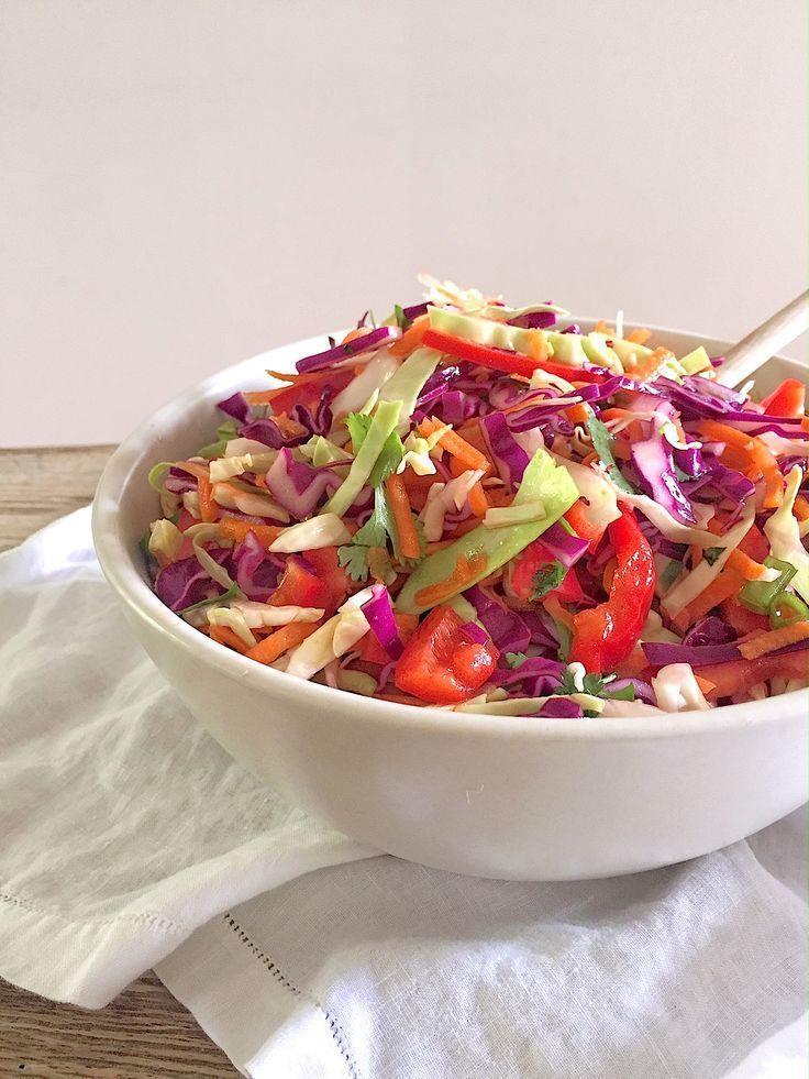 Everyday Mexican Slaw with Cilantro and Lime. A perfect, healthy side dish and salad for Mexican main dishes. Recipe on Mom's Kitchen Handbook