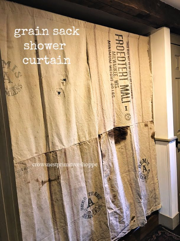 Handmade And Ooak Antique Grain Sack Shower Curtains No Two Are Alike Curtains Grain Sack Handmade