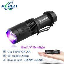 US $4.51 Mini UV flashlight cree led torch wavelength 365nm blacklight 395nm violet light uv black light torcia linterna. Aliexpress product