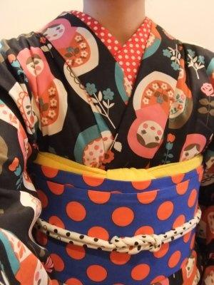 Matryoshka Kimono×Polka-dot Obi