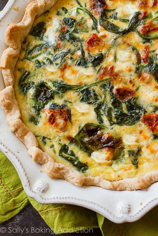 Goat Cheese Spinach & Sun-Dried Tomato Quiche. | Sally's Baking Addiction | Bloglovin'