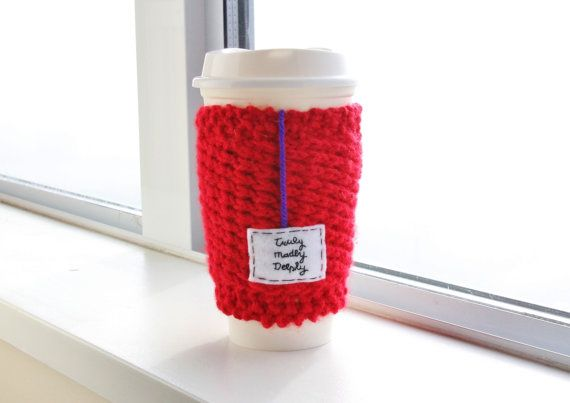 """I'll be your hope I'll be your love, be everything that you need..."" - Savage Garden // Poppy Red Handmade Knitted Travel Mug Cozy with Felt Teabag Tag, ""Truly Madly Deeply"" by OnanaKnits, $18.75 // Find out more at our Etsy store! OnanaKnits.etsy.com #knitting #cosy #cozy #mugcozies #cupcozy #onanaknits #coffeesleeves #coffee #tea #handmade"