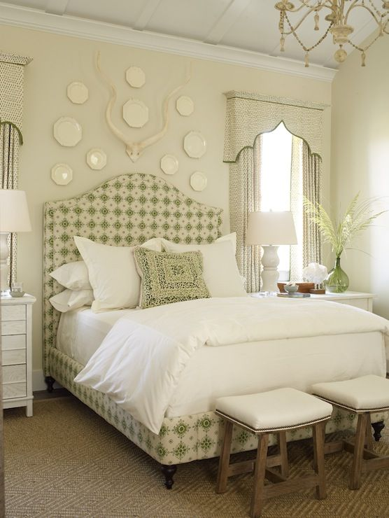 love antlers over bed phoebe howardcreamwear window treatment fabric on boxspring no dust ruffle find this pin and more on bedroom decorating ideas