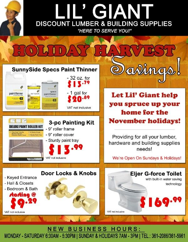 Holiday Harvest Savings at Lil' Giant Discount Lumber and Building Supplies
