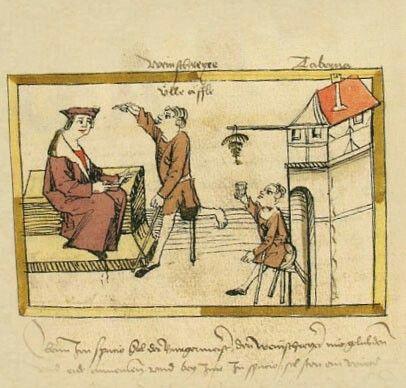 """Der Weinschreier  Hängte ein Bürger den """"Reif"""" vor sein Haus, dann bekam er Besuch von """"Ulle Äffle"""", dem Weinschreier mit dem verkrüppelten linken Bein. Ulle Äffle prüft den Wein, er hält das Glas ans Licht und verkündet dann lautstark Qualität und Preis."""