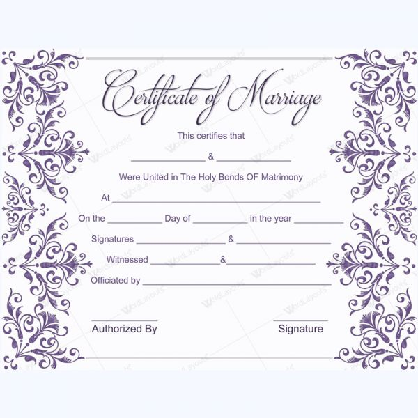 56 best Marriage Certificate Templates images on Pinterest - formal certificate template