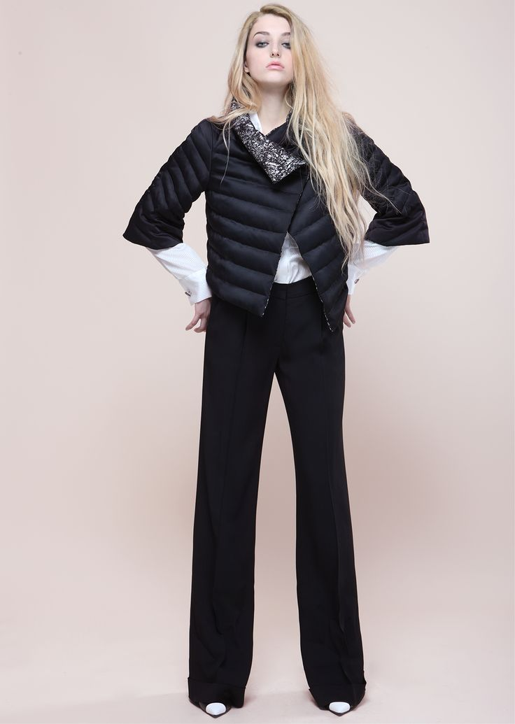 Black trousers, black down jacket Outfit proudly made in Italy