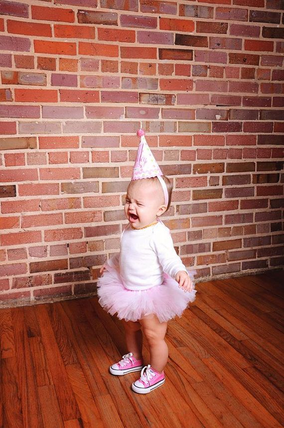 Girls First Birthday Party Hat - Pink and green dots with pink accents - Personalized on Etsy, $25.00