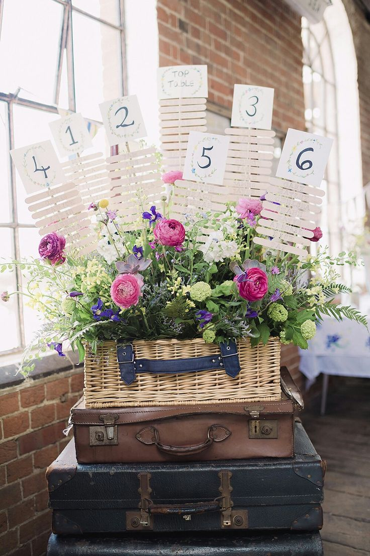 Creative guest seating chart using old suitcases and florals...