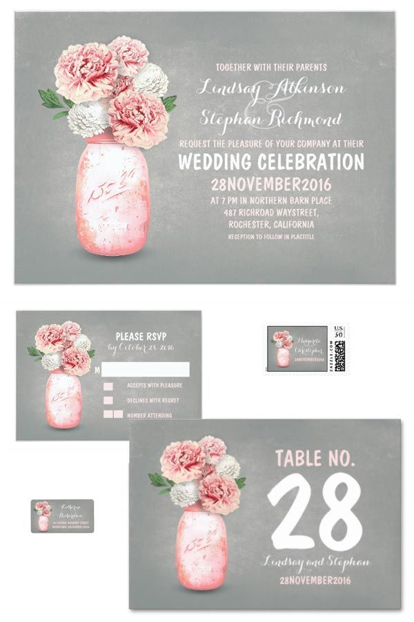 Painted mason jar wedding invitations and other wedding stationery. There is a link to buy the invites or other items from the collection in the blog post. Look under number 8.  #RusticWeddingInvitations #MasonJarWedding #WeddingInvitationsIdea #FarmWedding #CountryWedding