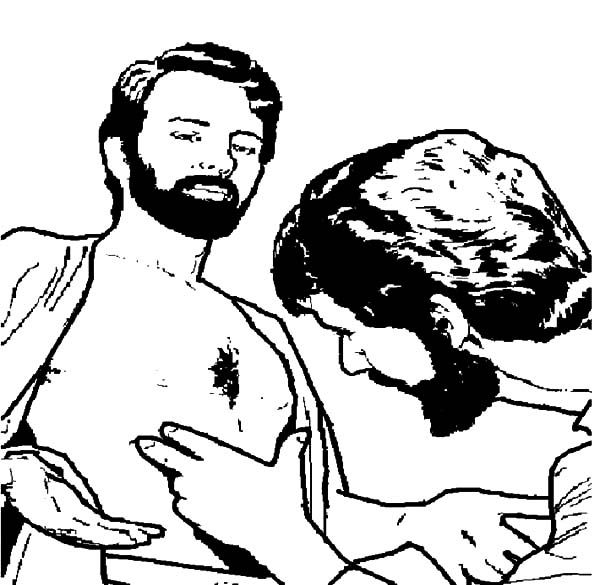Doubting Thomas Checking Wound On Jesus Chest Coloring Pages