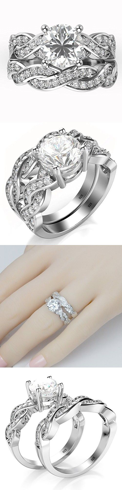 Sz 8 Sterling Silver 925 CZ Cubic Zirconia Infinity Wedding Engagement Ring Set