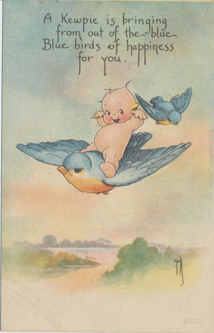 "Vintage ""Bluebird Of Happiness"" Kewpie Rose O'Neil Postcard."