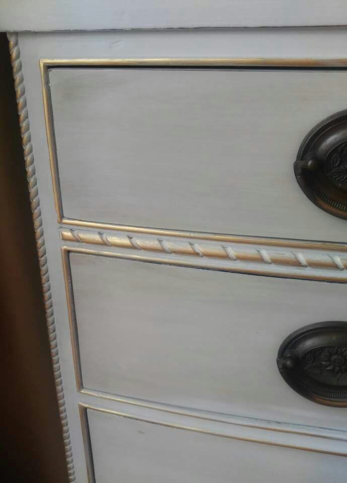 Annie Sloan French Linen with a Paris Grey Wash and touches of Gold Gilding.  Bella Pittura