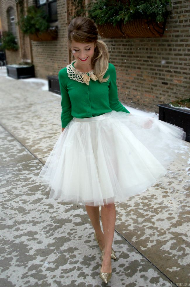 Ivory Tulle Skirt, DIY, Anthropologie, Winter Fashion, green cardigan, glitter pumps #stylishandscatterbrained #holidayfashion, holiday outfit