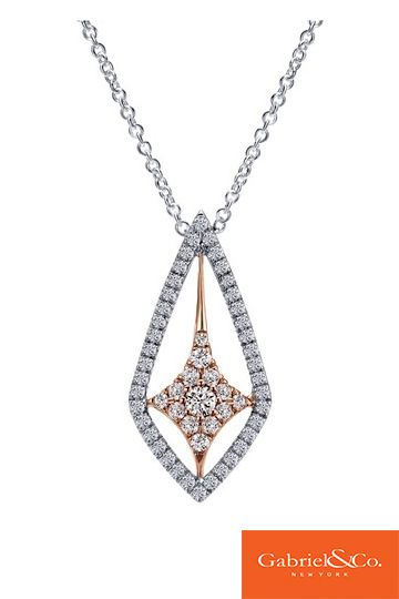 Stunning 18k White/Pink Gold Diamond Necklace by Gabriel & Co. This unique piece has such beautiful details and designs that make it so special for a lovely gift. Whether its a bridesmaid gift, wedding gift, or anniversary gift, this gorgeous necklace is absolutely perfect.