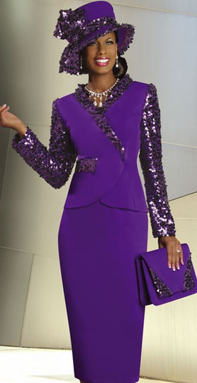 women's church suits and hats | ... Rene by Donna Vinci Womens Purple Church Suit with Sequins 3159 image