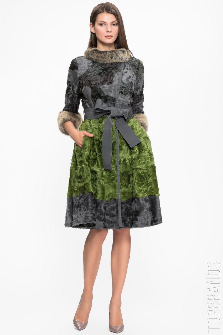 Шуба из меха ягненка с норковой отделкой и поясом Igor Gulyaev 05381-7-4 за 345000 руб. Интернет магазин брендовой одежды премиум-класса онлайн бутик - Topbrands.ru