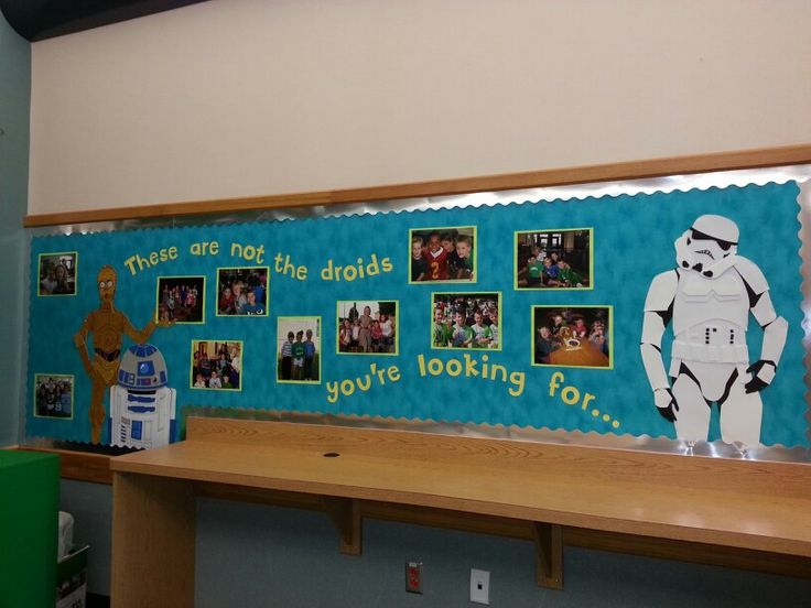 Star Wars themed board. This has just pictures of the kids at different school events.