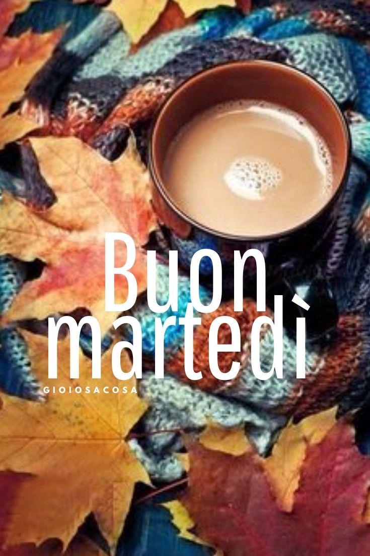Buon Martedì Autunno Caffè Latte Tazze Coccole Attenzioni