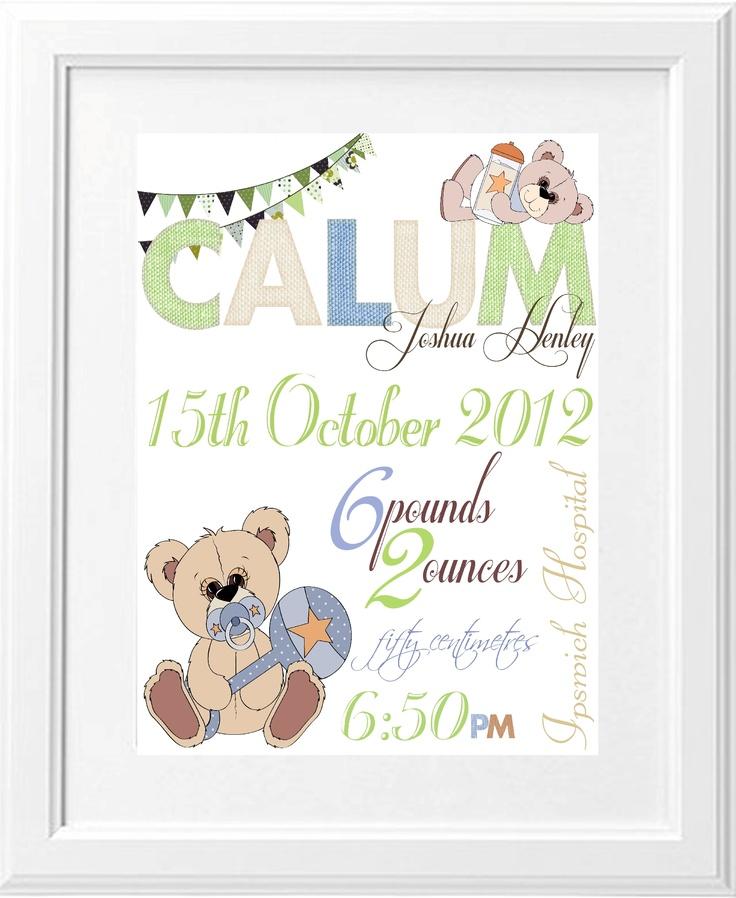 Birth Print Teddy Bears