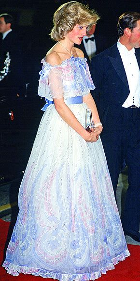 Conjuring images of a fairy-tale princess, Diana was demure in a chiffon Bellville Sassoon evening gown at the 1984 Royal Variety Performance.