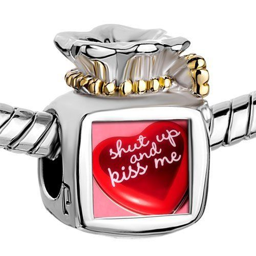 """Pugster Two Tone Money Bag Heart With Words """" Shut Up And Kiss Me"""" Photo Beads Fits Pandora Charm Chamilia Biagi Bracelet Pugster. $16.49. Metal: Metal. Color: Golden, Silver. Size (mm): 9.46*8.73*12.41. Weight (gram): 5.2"""