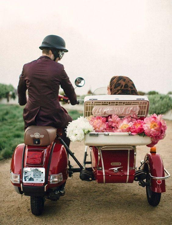 Alternative wedding transport - motorcycle sidecar