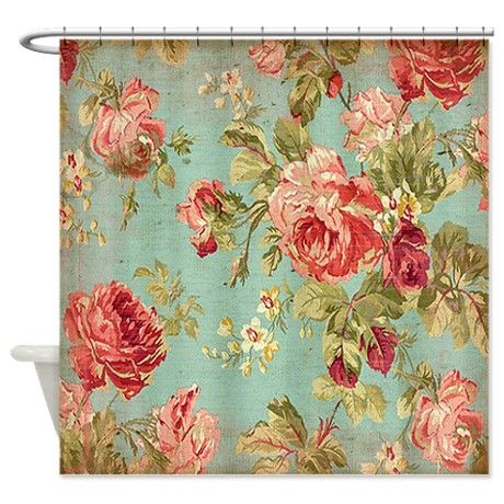 Beautiful Vintage Rose Floral Shower Curtain
