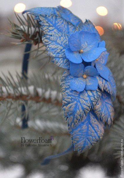 """Цветы из фоамирана. Ободок для волос """"Синяя птица"""" - синий,золотой,сине-золотой"""