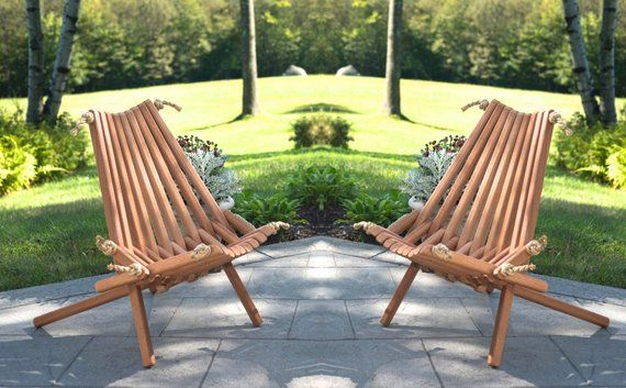 2 Mahogany Pioneer Chairs Deck Chair Wooden Rope Folding Chair