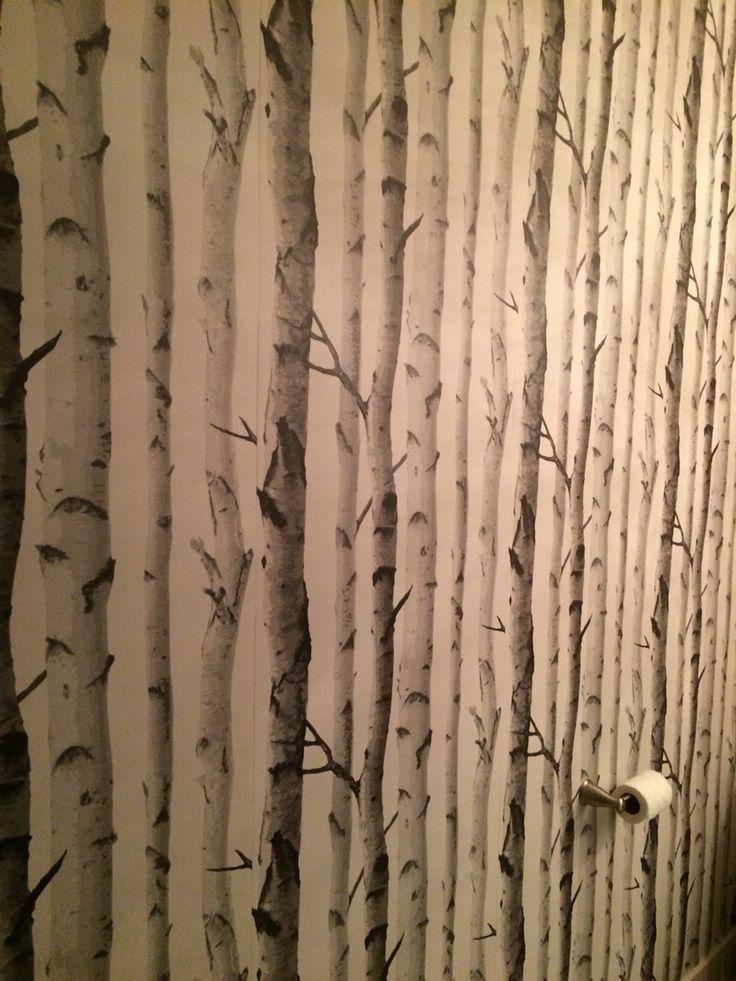 Tapisserie de Boulot mise dans la salle d'eau qui donne un effet de profondeur !