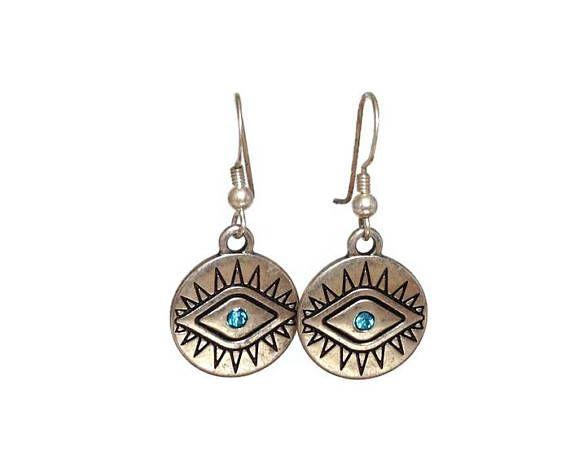 Boucles d'oreilles oeil aqua bijou ethnique