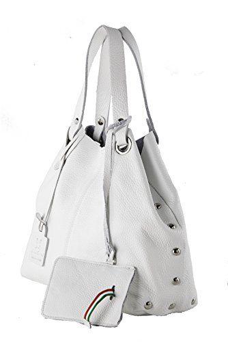 Anna Cecere - Borsa shopper in pelle con tracolla - Made in Italy - Bianco #borse