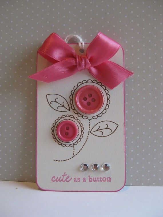 Gift Tag cute as a button. Boy version with car and buttons for tires?