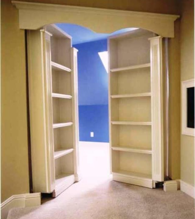 Assemble book cases on French doors to create a secret room! :)