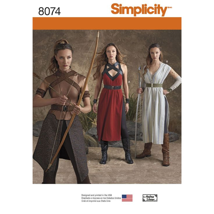 Be the heroine of your story with these costumes in Misses sizes 6 to 22. Pattern features outfits in three styles that include dresses with accessory harnesses, arm and wrist bands, belts, leggings, overskirts and more. Simplicity sewing pattern.